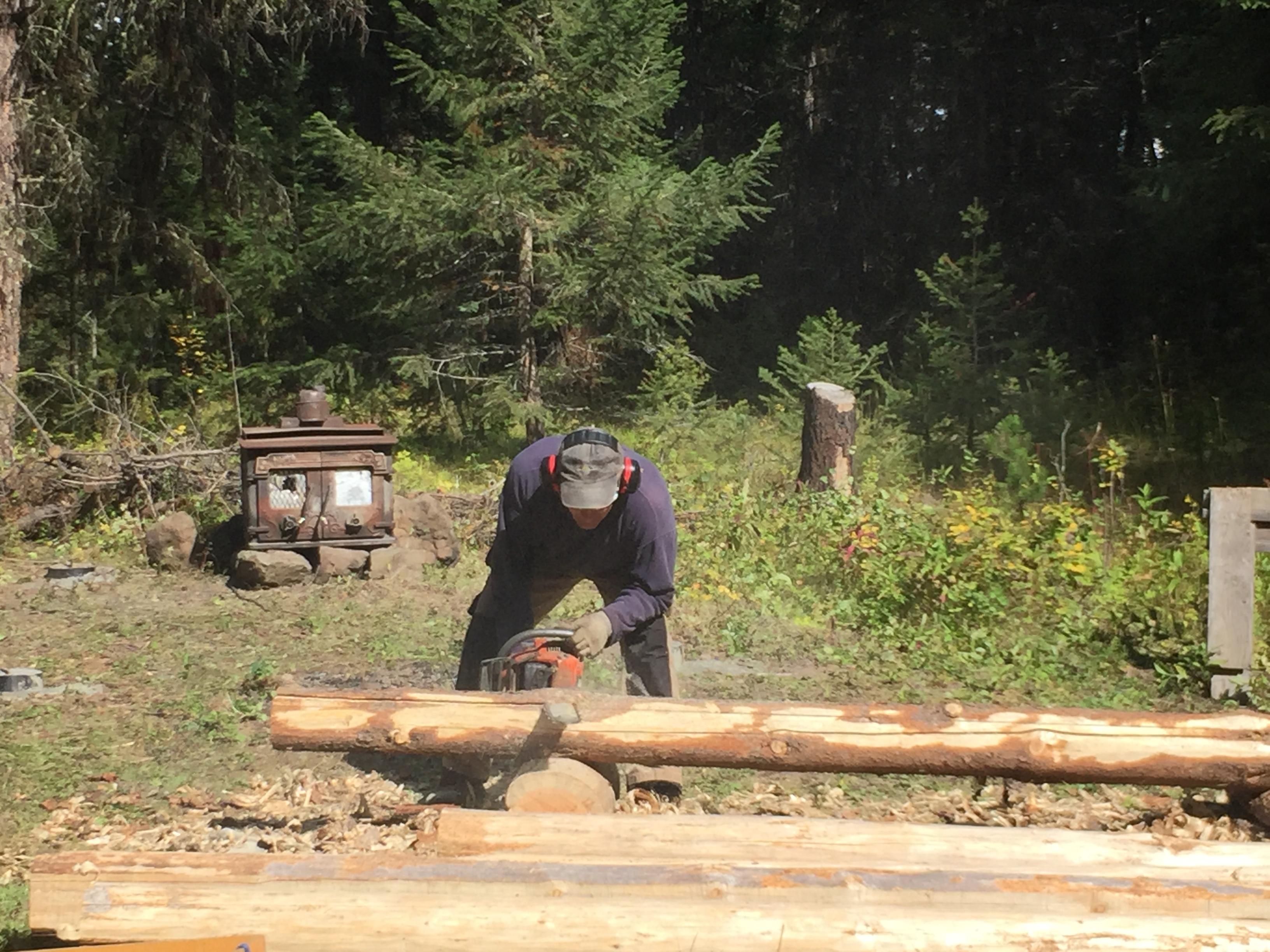peeling logs, log homes